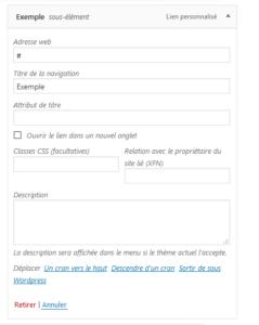 dièse dans lien pour un bouton neutre sans le menu wordpress